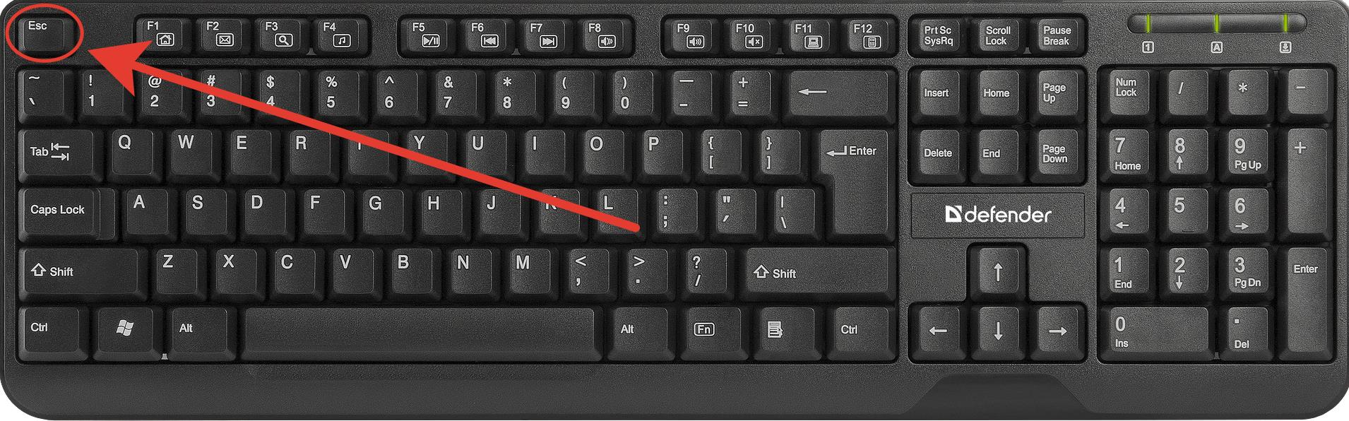 Клавиша esc для выхода из режима колонтитул