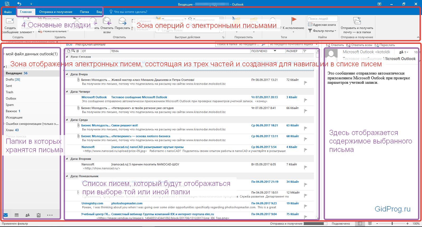 Интерфейс Outlook